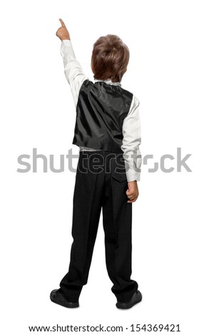 ребенка указывая стены вид сзади изолированный Сток-фото © g215