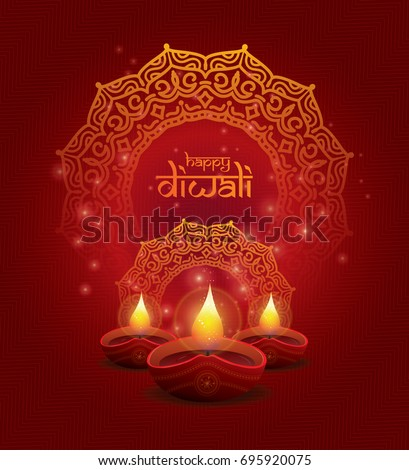 beautiful creative shiny diwali lamp template colorful brochure stock photo © bharat