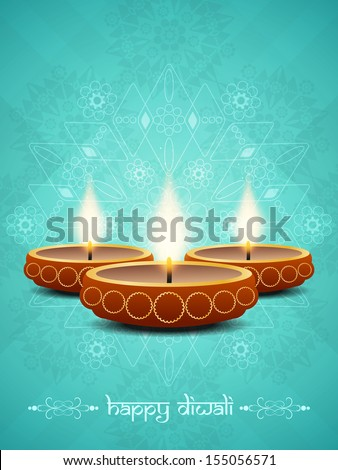 beautiful diwali greeting card blue colorful vector illustration stock photo © bharat