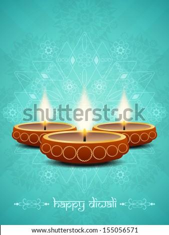Stock photo: Beautiful diwali greeting card blue colorful vector illustration