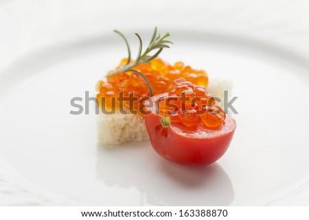 Perfetto colazione caviale sandwich rosso pomodorini Foto d'archivio © adamr