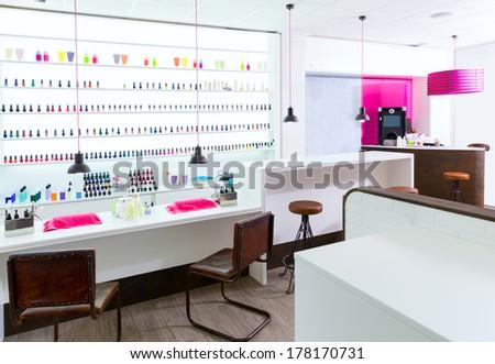 colorful nail polish colors in a row at nails saloon on white Stock photo © lunamarina