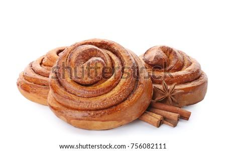 fahéj · fehér · édes · tekercsek · cukor · por - stock fotó © dariazu