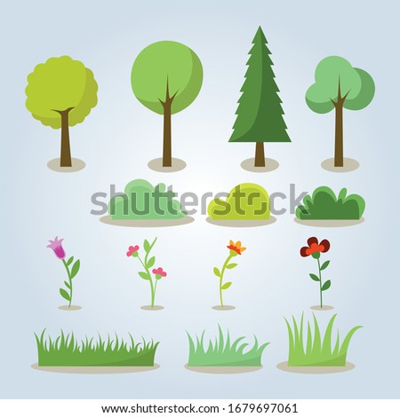 banners with repeating pattern tile of isolate grass with flowers Stock photo © heliburcka