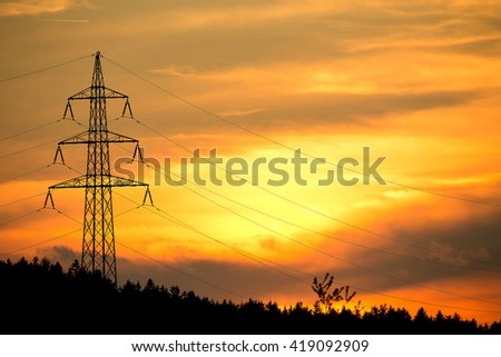 Tower For Electricity In Beautiful Landscape With Golden Fields Zdjęcia stock © Artush