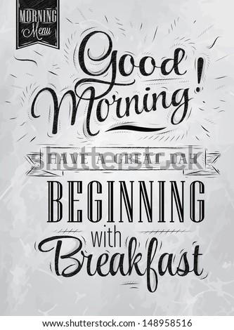 иллюстрация Этикетки доброе утро завтрак жареный Сток-фото © elenapro