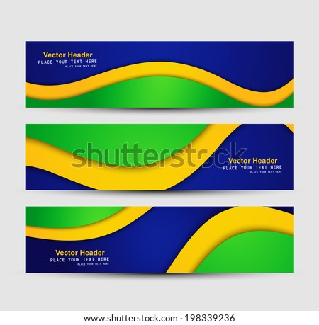 brazil flag colors concept banner and header set stylish wave il stock photo © bharat