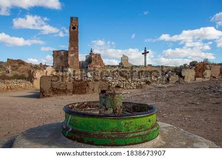 村 · 破壊された · スペイン語 · 内戦 · 市 · 氷 - ストックフォト © herraez