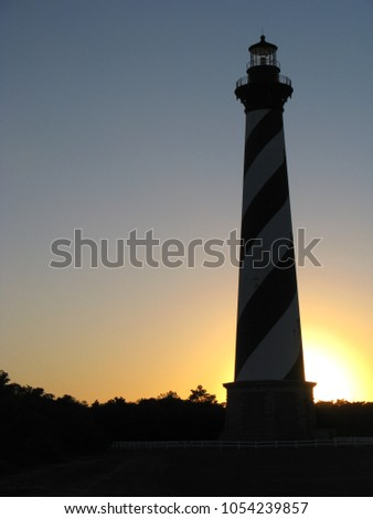 buildings silhouettes at sunrise on cape hatteras natinal seasho Stock photo © alex_grichenko