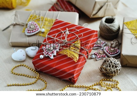 Christmas tree with gifts and 2015 sign on red background full l Stock photo © HASLOO