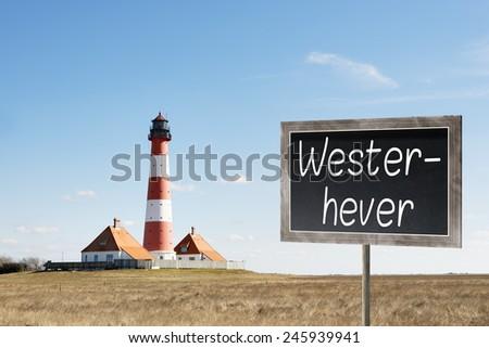 Vuurtoren schoolbord afbeelding noordelijk Duitsland tekst Stockfoto © w20er