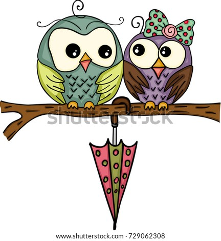 cute owl couple in love stock photo © jackybrown