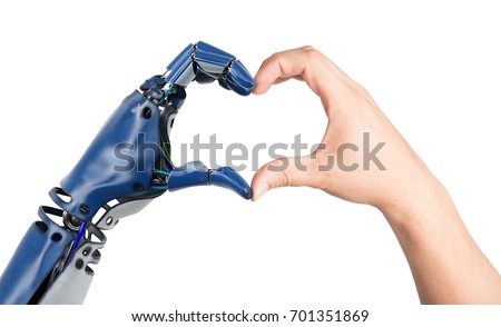 Robot with human heart in the hands. Technology concept. Contains clipping path. Stock photo © Kirill_M