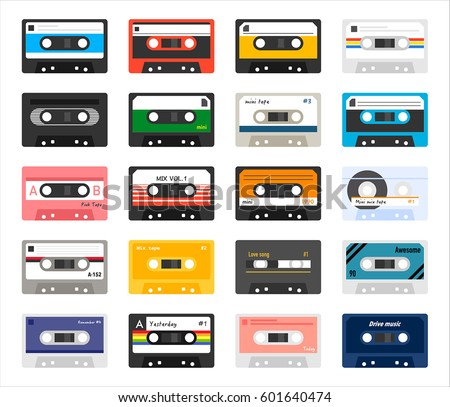 Vector graphic illustration of a set of cassette tapes in vibran Stock photo © feabornset