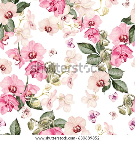 watercolor floral background with tropical orchid flowers leave stock photo © elmiko