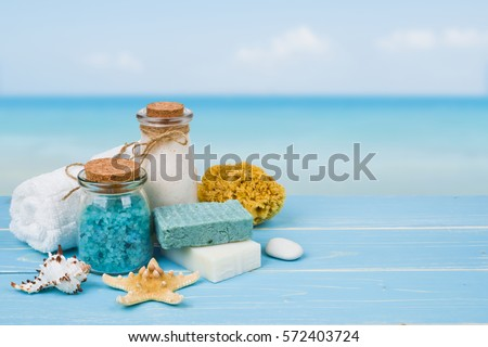 Bleu sel de mer spa tropicales fleurs pierre Photo stock © wywenka