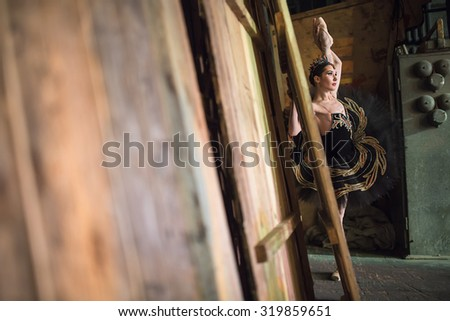 Ballerina standing warming up backstage before going to stage Stock photo © bezikus