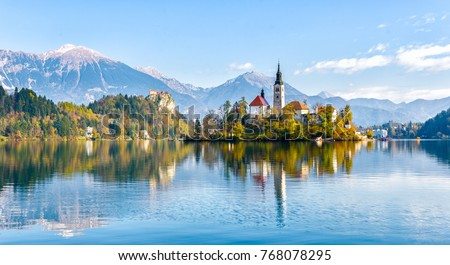 island with catholic church on bled lake in slovenia hill with stock photo © kayco