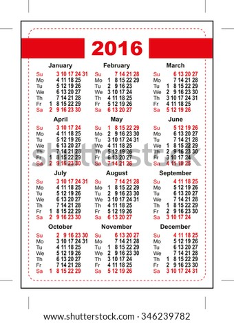 2016 pocket calendar. First day Sunday. Vertical orientation days of week Stock photo © orensila