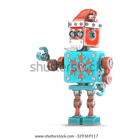 robot santa pointing at invisible object isolated contains clipping path stock photo © kirill_m