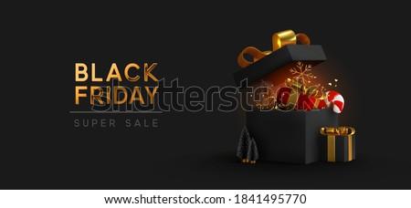 Merry Christmas black glittering lettering design. Vector illustration EPS 10 Stock photo © rommeo79