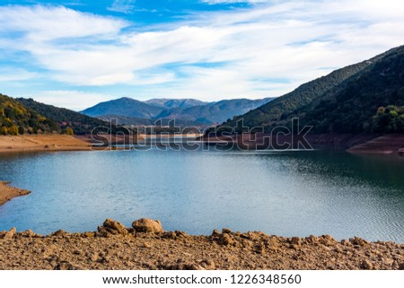 Artificial lago Grecia cielo azul nubes montanas Foto stock © ankarb