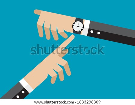 composite image of businessman hand with watch pointing somethin stock photo © wavebreak_media