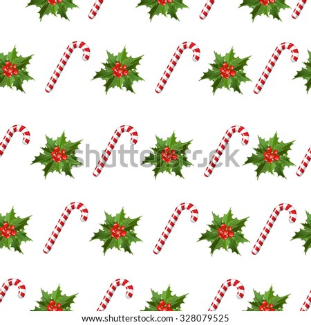 Seamless pattern - All over background - mistletoe - sugar cane  Stock photo © gigi_linquiet