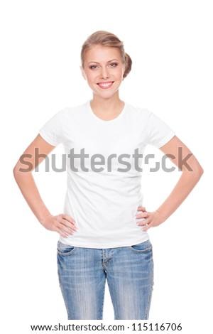 Fiatal lány áll fehér póló farmernadrág mezítláb Stock fotó © ShawnHempel