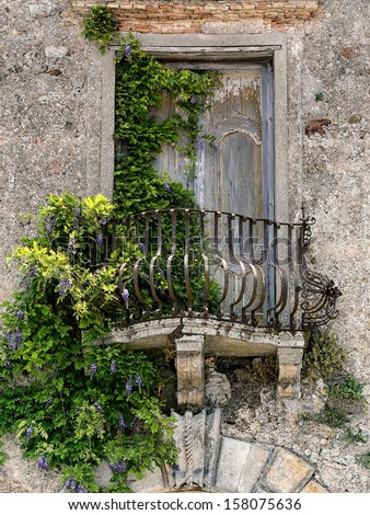 Retro romantic balcony. Window with green shutter. Vintage Italy, Pienza in Tuscany. Stock photo © photocreo