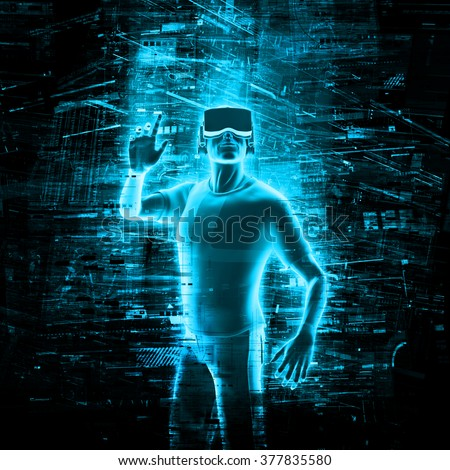 Man wearing virtual reality goggles for 3d VR multimedia content Stock photo © stevanovicigor