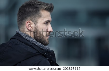Loneliness, moody portrait of a beautiful fashoinable young redh Stock photo © lithian