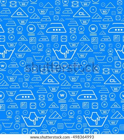 pattern created from laundry washing symbols on a blue backgroun stock photo © m_pavlov