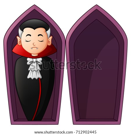 happy halloween dracula in open coffin illustration for terrib stock photo © maryvalery