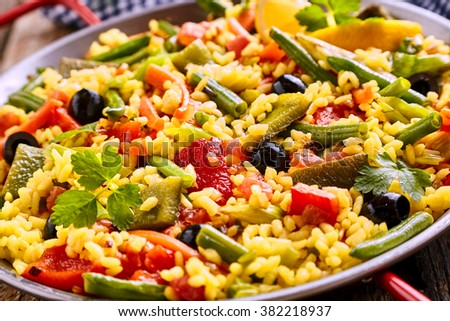 Close Up of Colorful and Fresh Vegetarian Paella Spanish Rice Di Stock photo © digoarpi