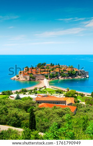 beautiful island and luxury resort sveti stefan montenegro balkans adriatic sea europe stock photo © maxpro