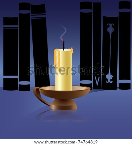 black chandelier silhouette with candles with place for your text isolated on white stock photo © mcherevan