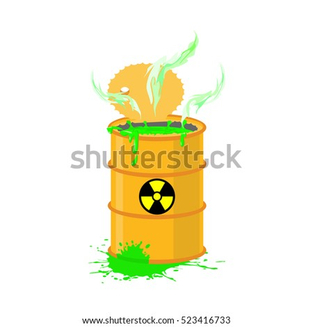Radioactive waste barrel. Toxic refuse keg. Poisonous liquid cas Stock photo © popaukropa