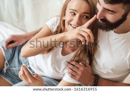 boldog · jóképű · fickó · érzéki · barátnő · jóképű · férfi - stock fotó © iordani