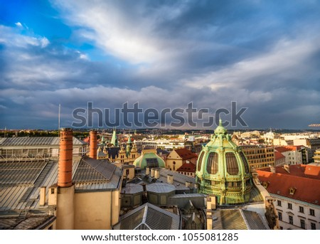 Prague rooftops and Obecni Dum (Municipal House), view from Pode Stock photo © Kirill_M