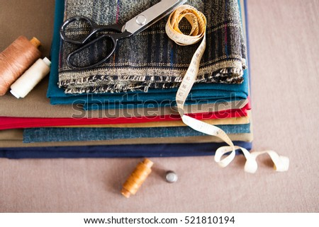 Italian cloth suit, tailoring tradition, colorful fabric and tai Stock photo © Yatsenko