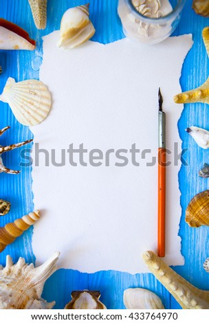 Summer time sea vacation with white blank and feather for the le stock photo © Yatsenko