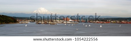 Commencement Bay Panoramic Puget Sound Tacoma Washington Mout Ra Stock photo © cboswell