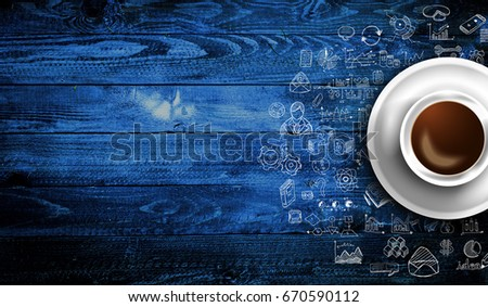 Infograph background template with a fresh coffee on real wooden table  Stock photo © DavidArts