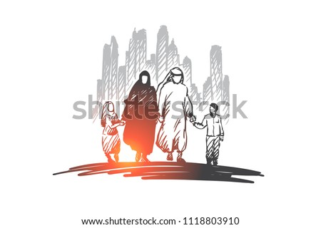Gelukkig arab familie kleding moslim ouders Stockfoto © NikoDzhi