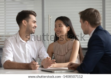 Banker asian woman. Office worker is ready to work with spectacl Stock photo © NikoDzhi