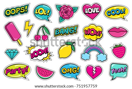vector set of fashionable patches modern doodle pop art sketch stock photo © curiosity