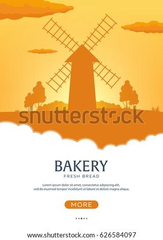 Anunciante molino de viento amanecer panadería frescos Foto stock © Leo_Edition