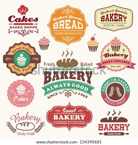 Stok fotoğraf: Set Of Bakery Shop Emblem Labels Logo And Design Elements Vector Illustration