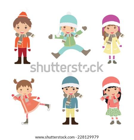 little winter kids schoolgirls isolated on white vector cartoon stock photo © nikodzhi